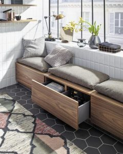 benches make a good place for storage