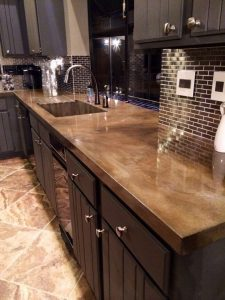 Cement counter tops come in many colors and textures.