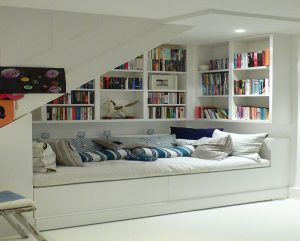 Reading nook in the basement