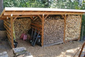 Plan ahead for our wood-burning fireplace or stove with a covered shed