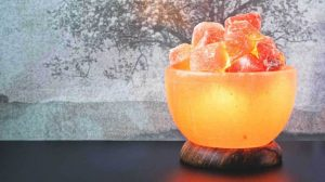 A Himalayan sea salt lamp is believed to clean the air.